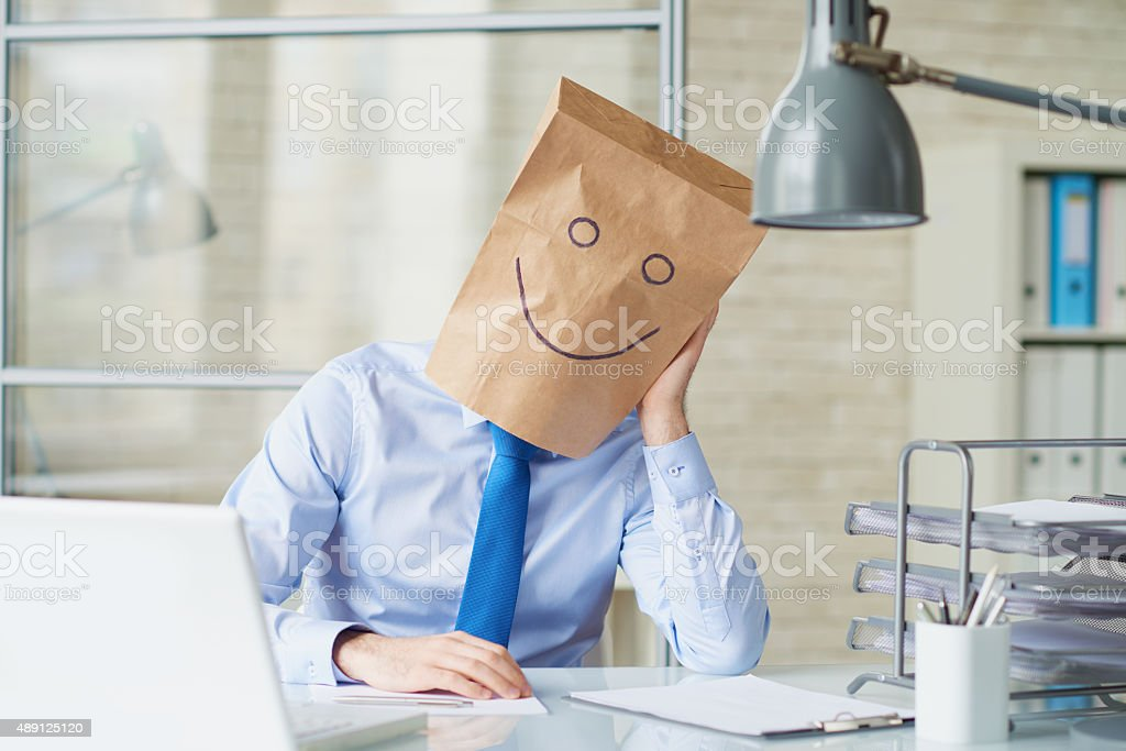 Bored funny businessman stock photo