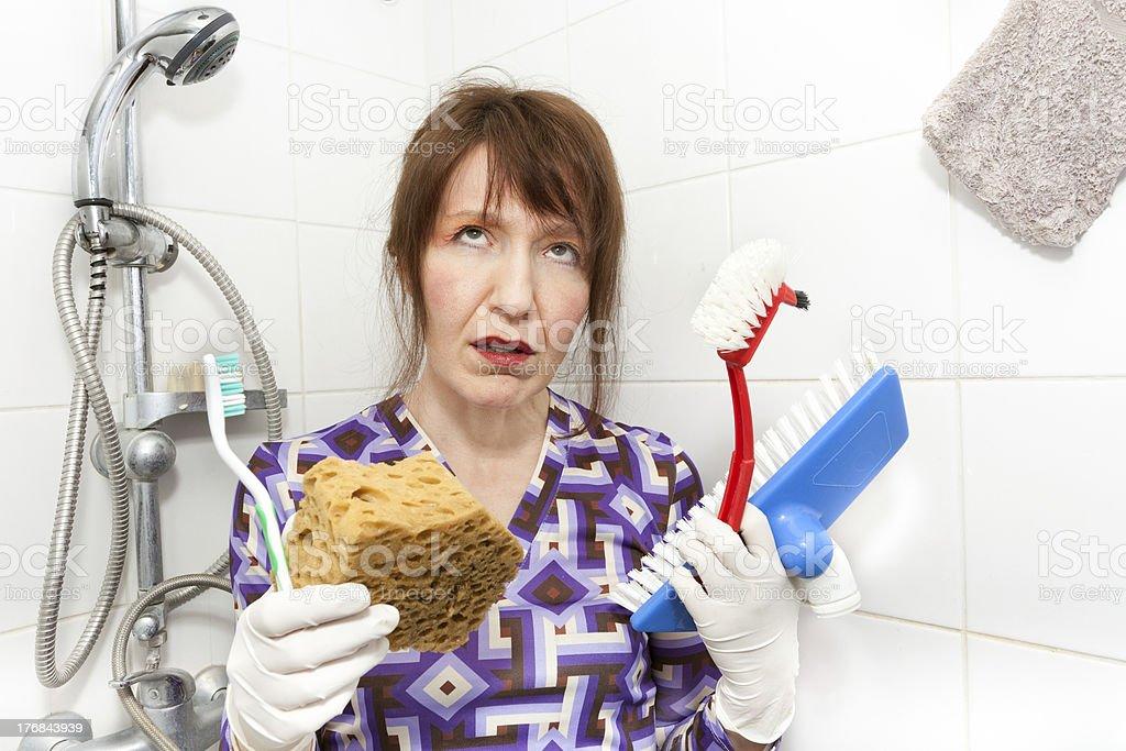 bored housekeeper royalty-free stock photo