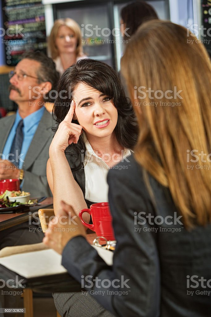 Bored Lady in Cafe stock photo