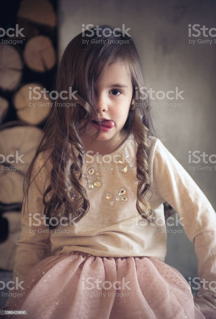 Bored Little Princess stock photo