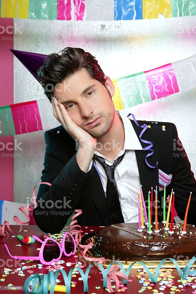 Bored man in a party funny boring gesture stock photo