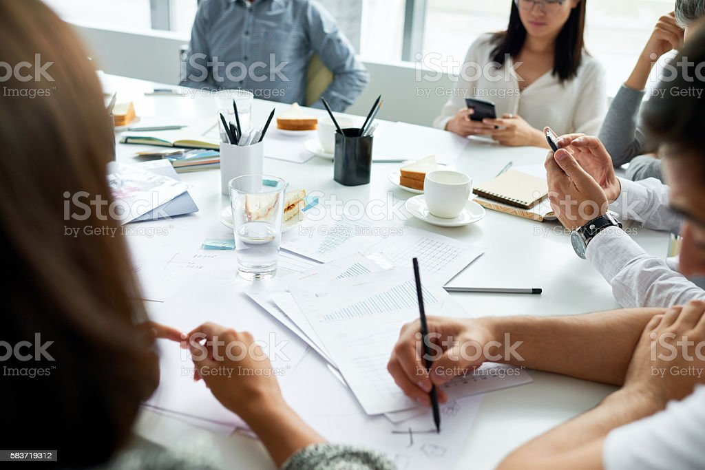 Bored meeting stock photo