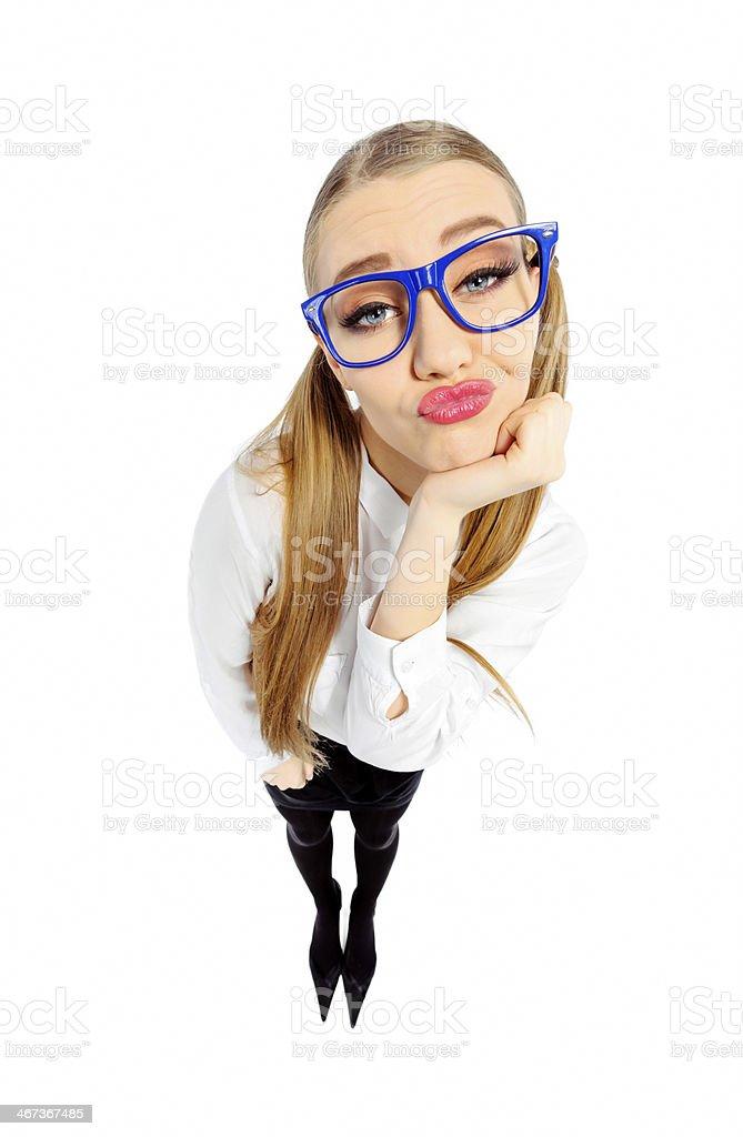 bored nerd woman royalty-free stock photo