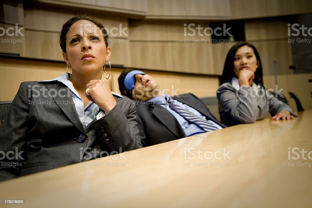 Bored or tired businessman falls asleep stock photo
