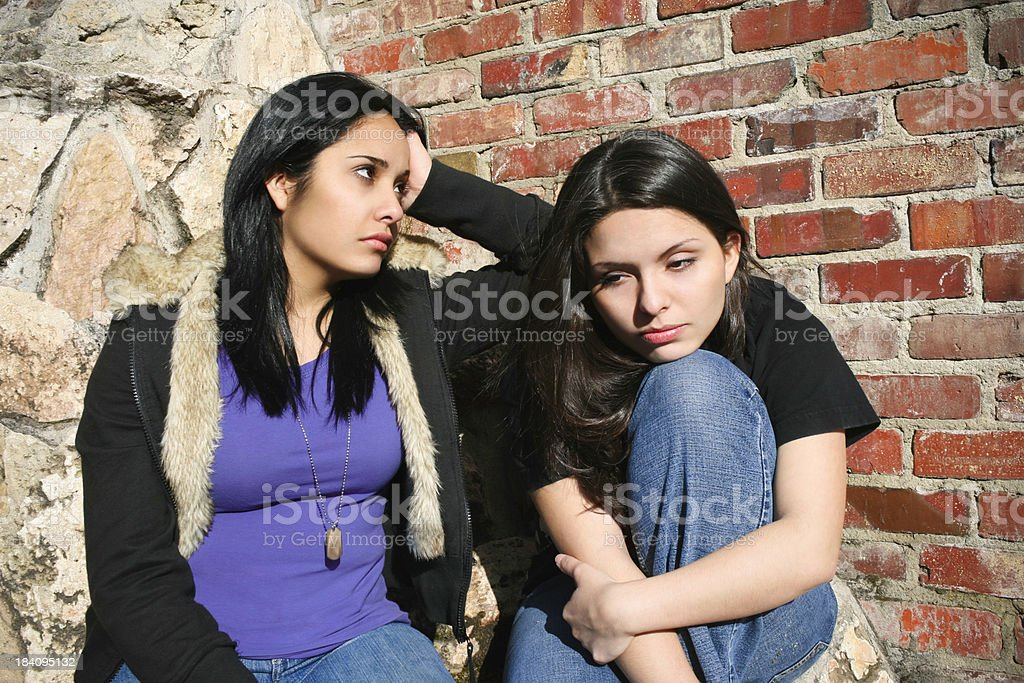 Bored Sisters stock photo