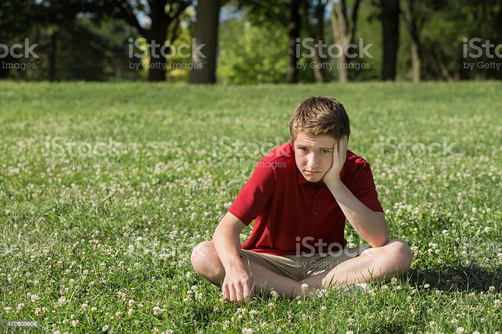 Bored Teen Boy stock photo