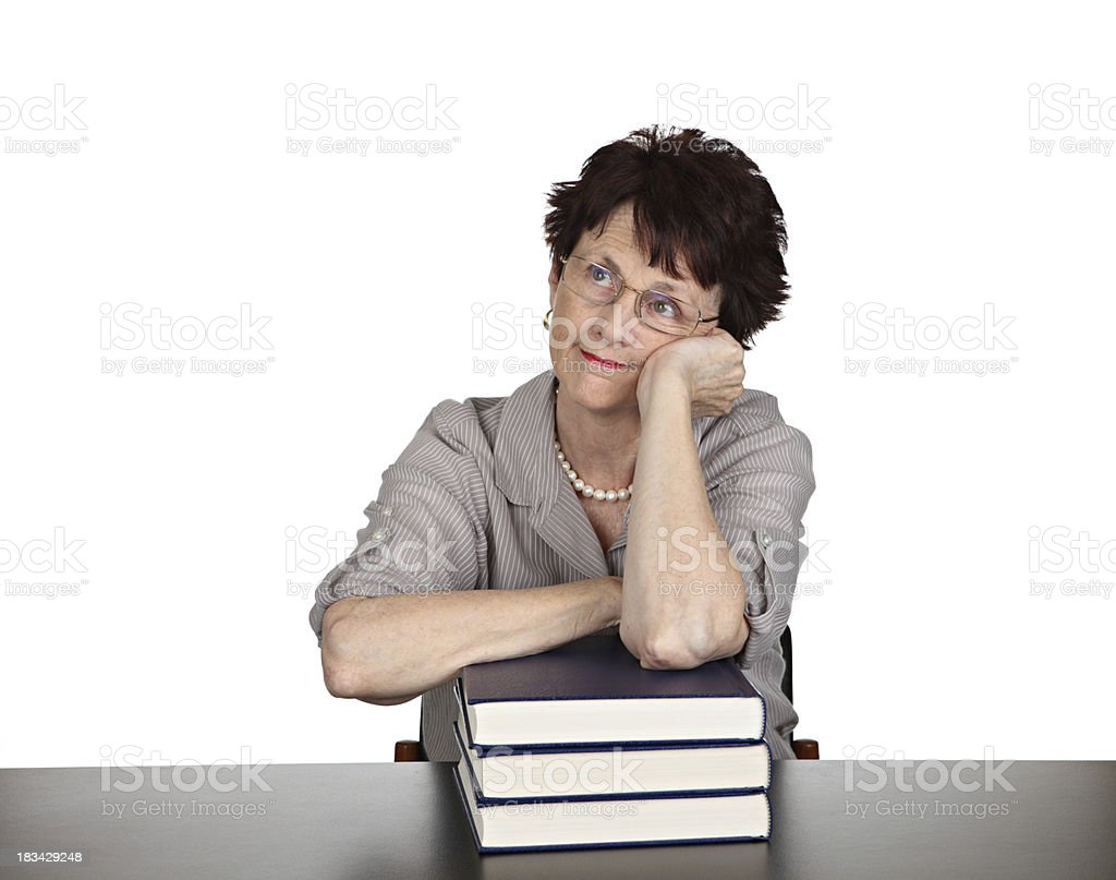 Bored with reading royalty-free stock photo
