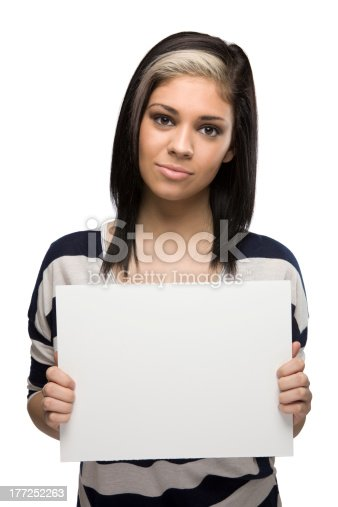 istock Bored Woman Holding a Blank Sign 177252263
