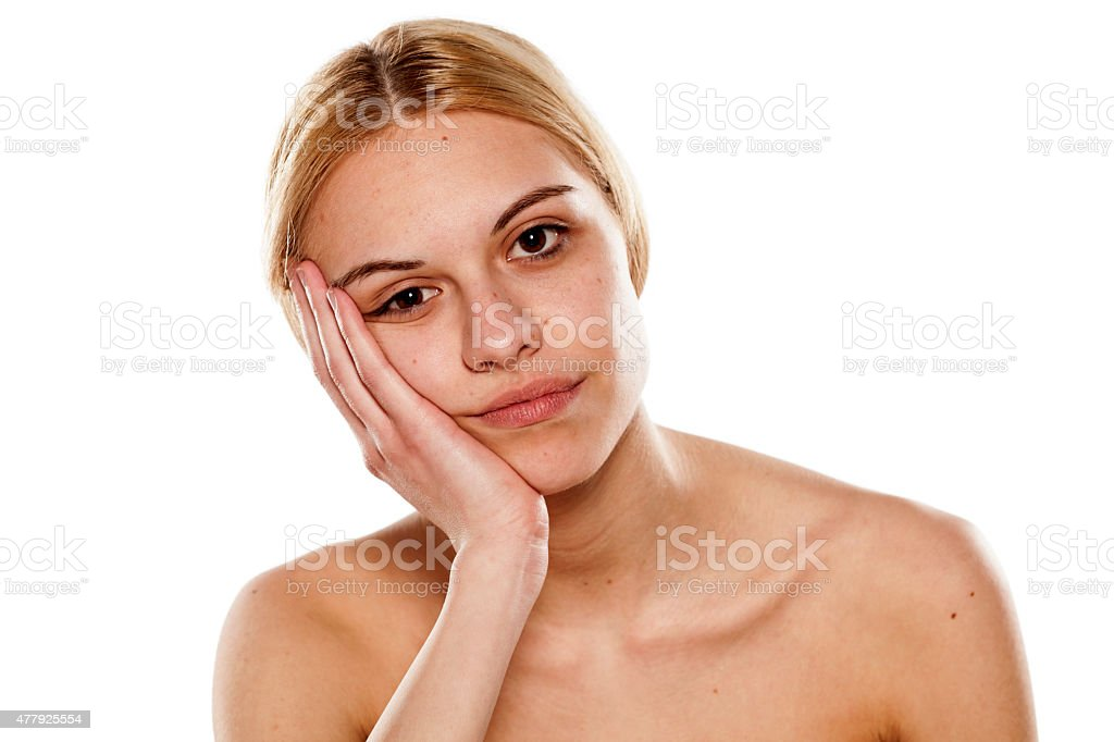 bored woman without makeup stock photo