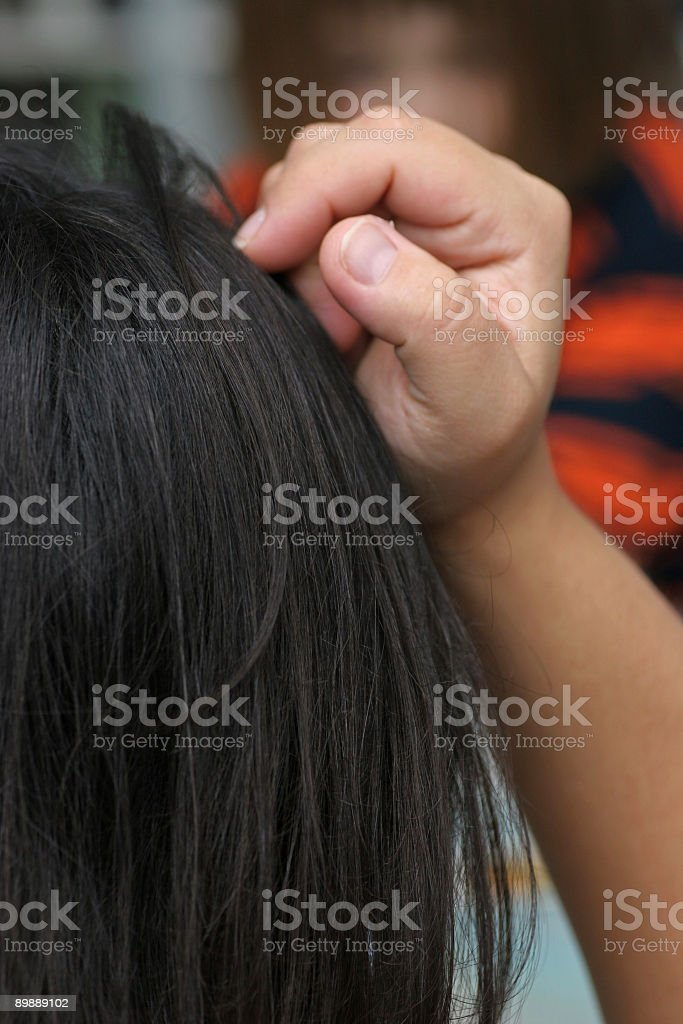 Bored womand holding head royalty-free stock photo
