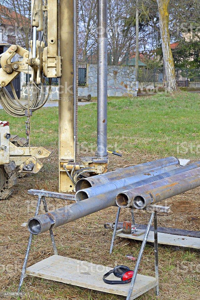 Borehole for soil testing royalty-free stock photo