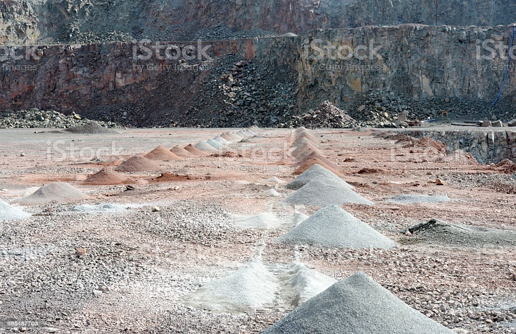 Borehole on quarry open mine pit. stock photo