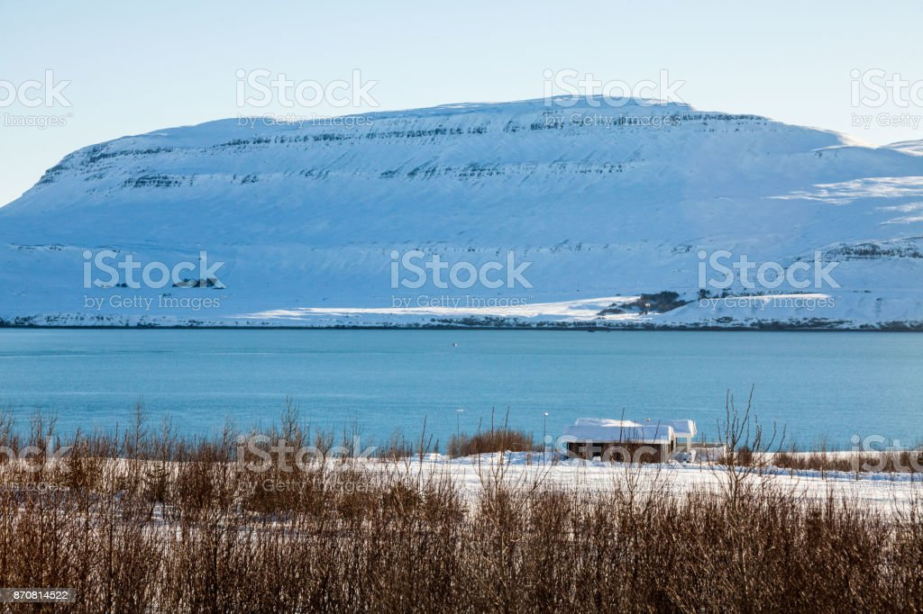 Borgarnes view during winter which is a town located on a peninsula at the shore of Borgarfjordur, Iceland stock photo