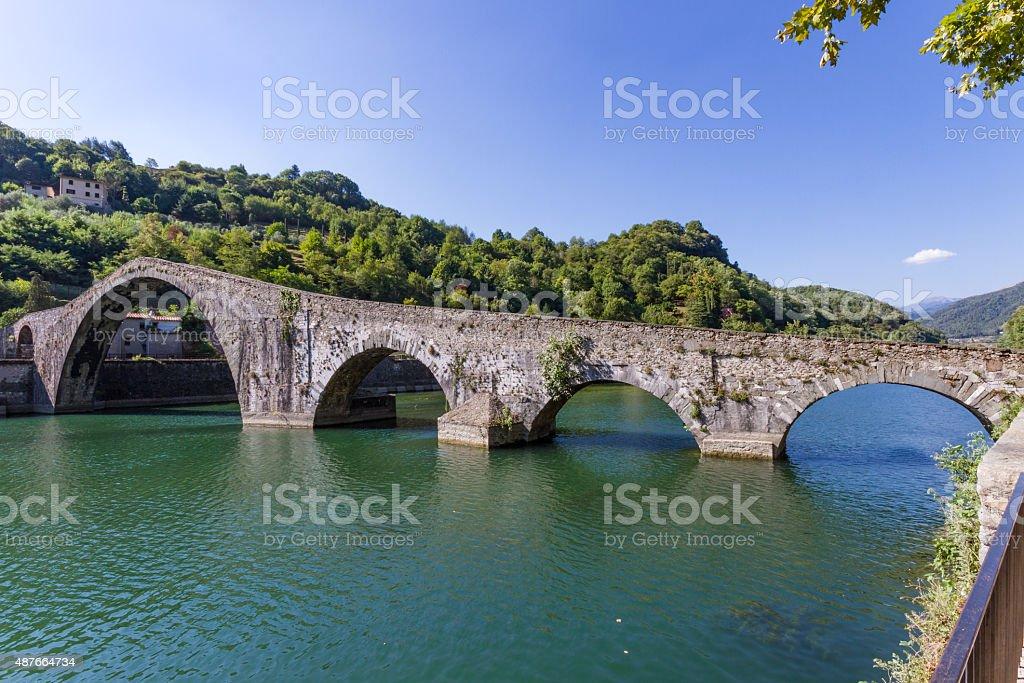 Borgo a Mozzano's bridge of the Devil, Lucca, Tuscany, Italy stock photo