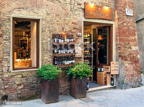 Montepulciano, Italy - A shop selling wines from the Italian vineyard Borgo Di Vino, in the historic town of Montepulciano.