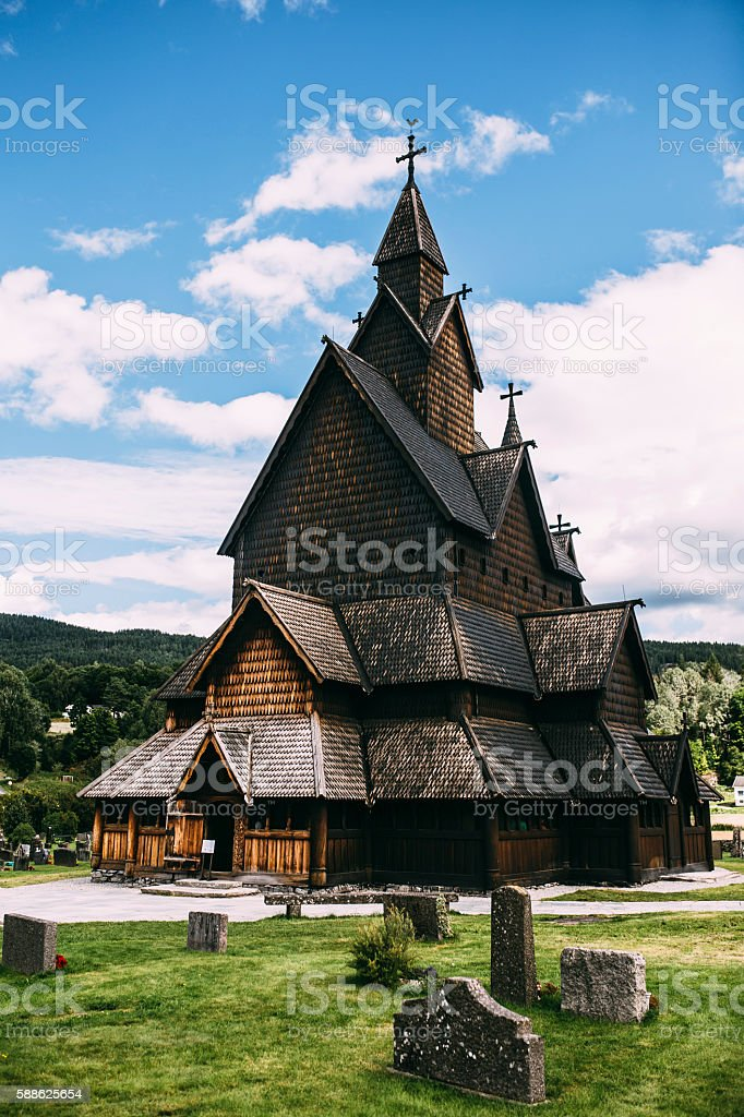 Borgund Stave Church in Lærdalen, Norway stock photo