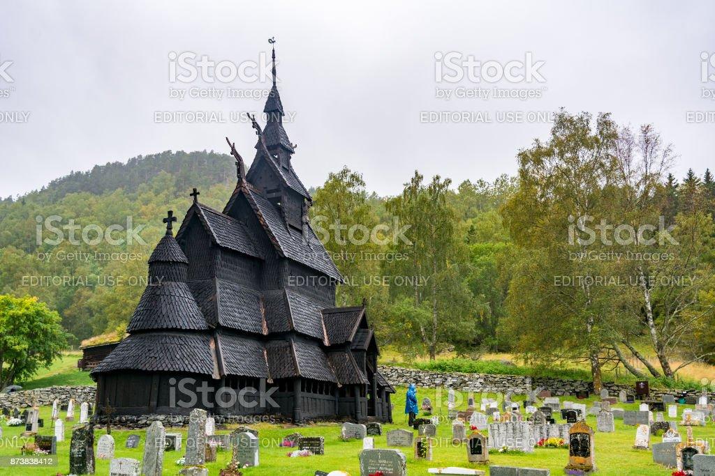 Borgund Stave Church in Norway stock photo