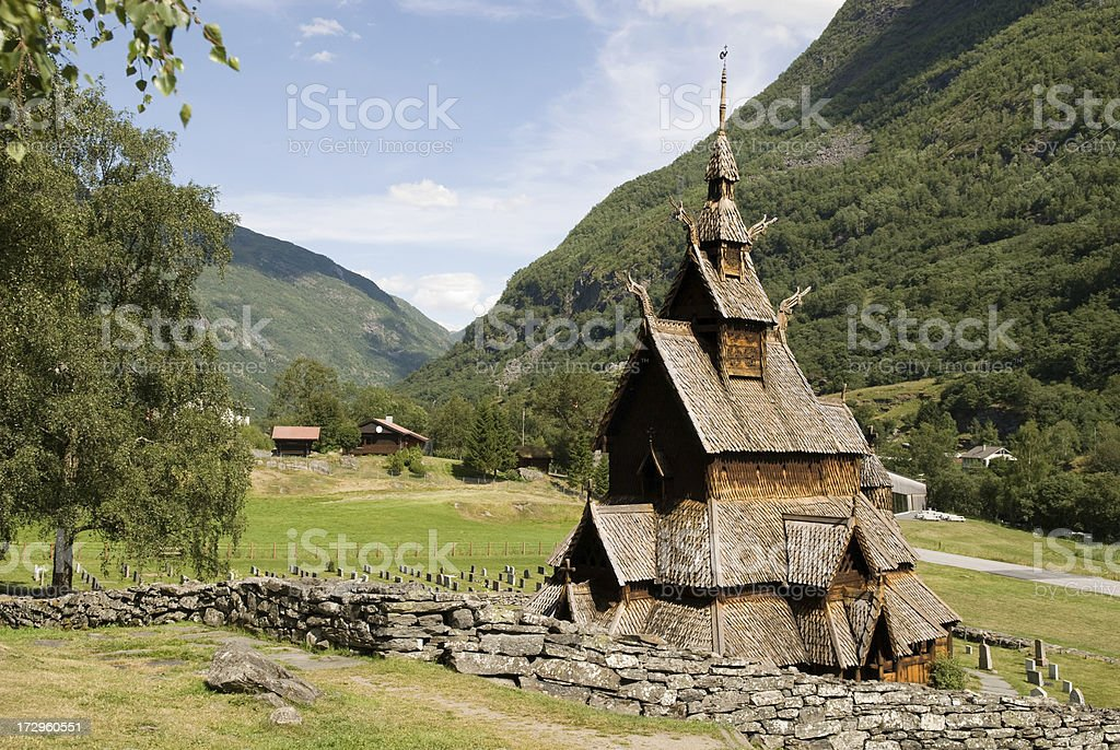 Borgund stave church. stock photo