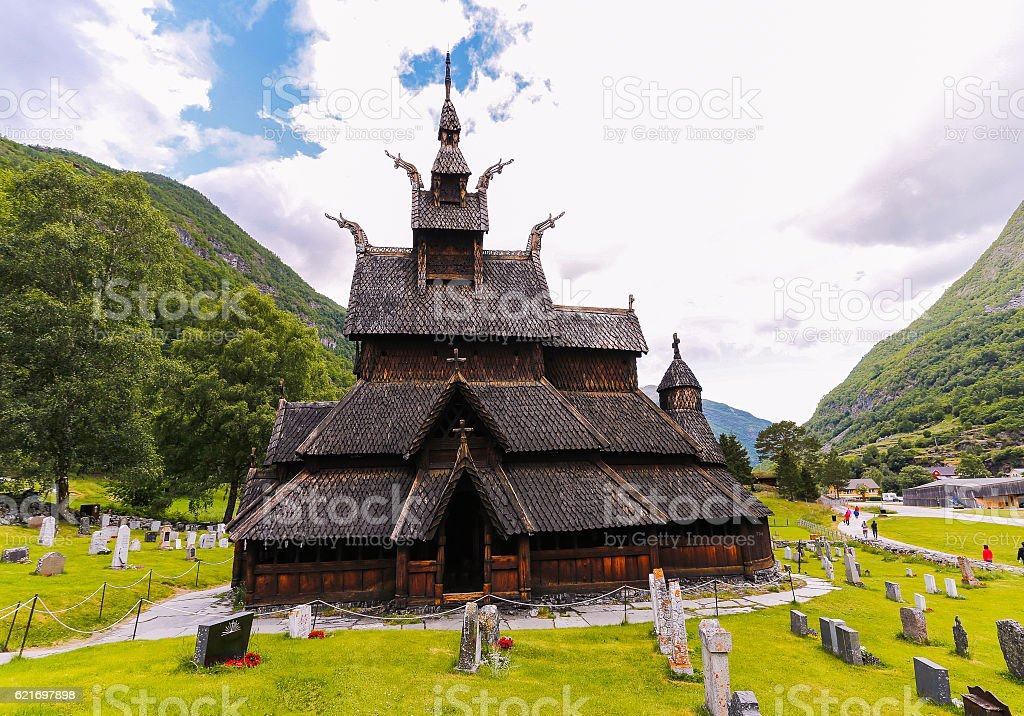 Borgund stave church stock photo
