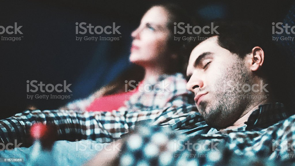 Boring movie. stock photo