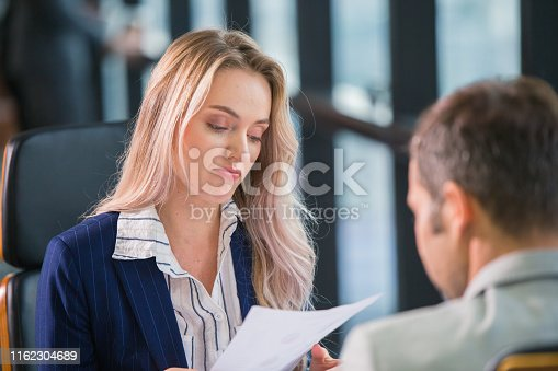 Boring office employee worker, Business Manager women bore her male partner not professional working