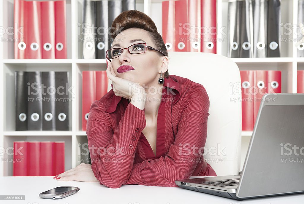 Boring office worker stock photo