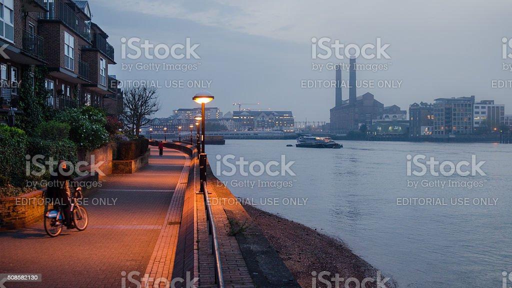 Boris Biker on Thames Path during smog stock photo