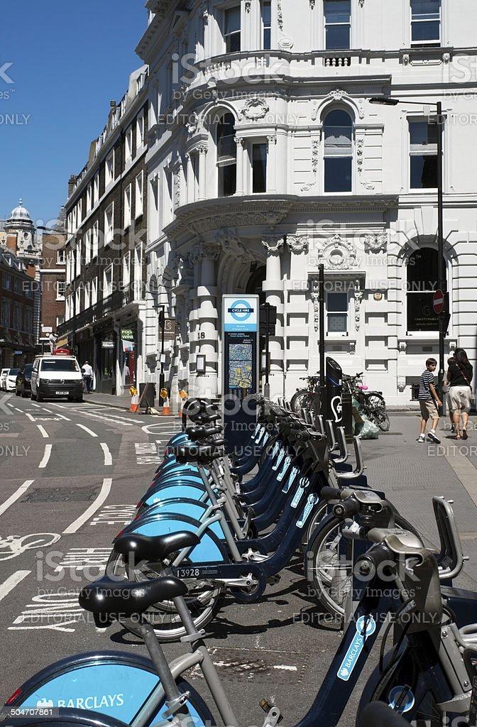'Boris Bikes' in Wellington Street, Strand stock photo