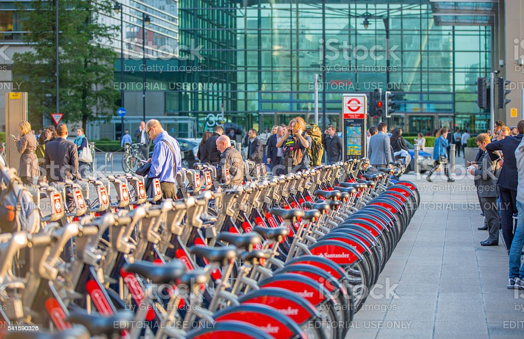 Boris bikes parking in Canary Wharf. London stock photo