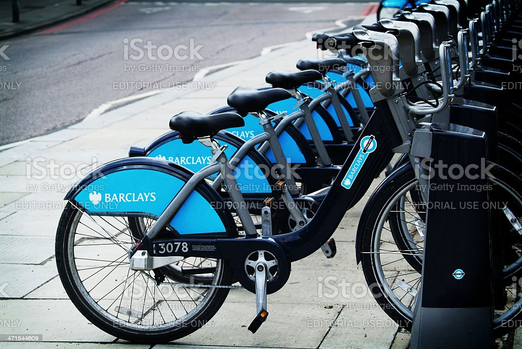 Boris's bikes stock photo