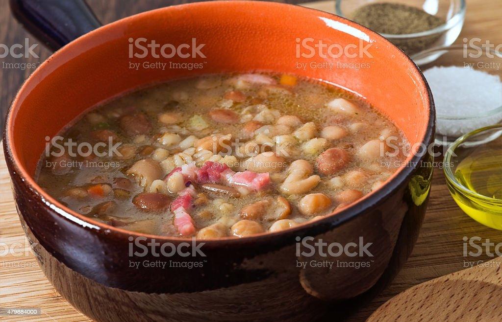 Borlotti bean and spelt soup. stock photo