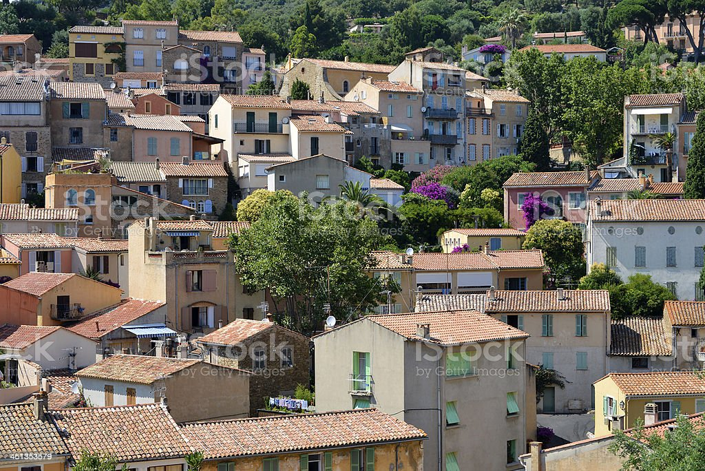 Bormes-les-mimosas village in France stock photo