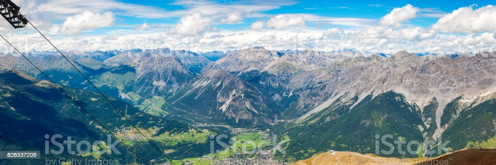 Bormio and Valtellina panorama. Color image stock photo