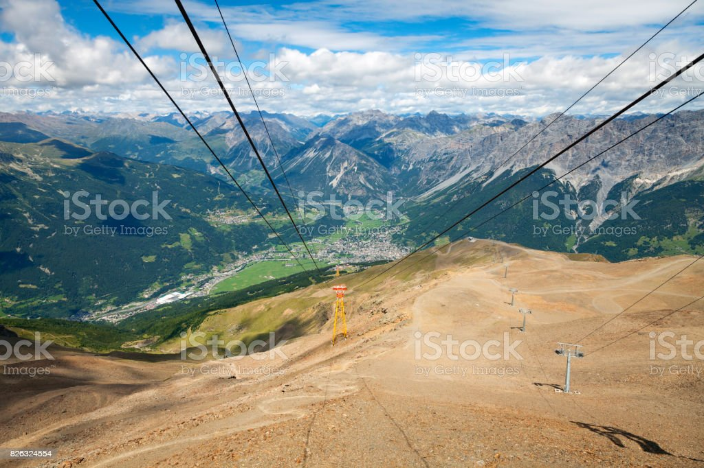 Bormio and Valtellina summer panorama. Color image stock photo