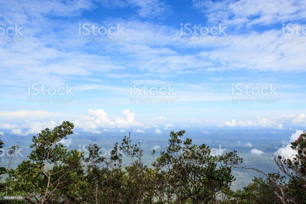 Borneo landscape view from mount api stock photo