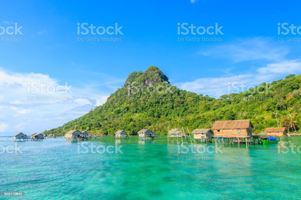 borneo sea gypsy water village stock photo