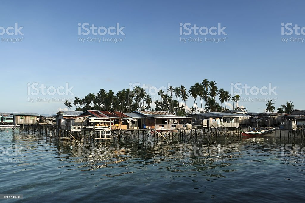 borneo stilt house fishing village royalty-free stock photo