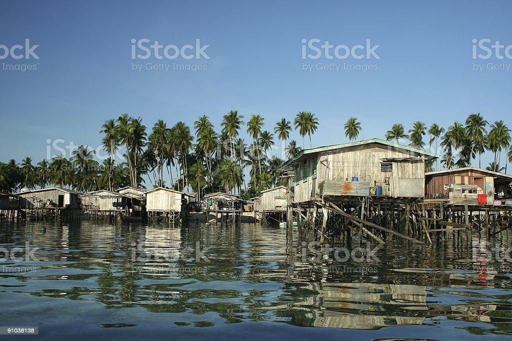 borneo water village mabul island stock photo