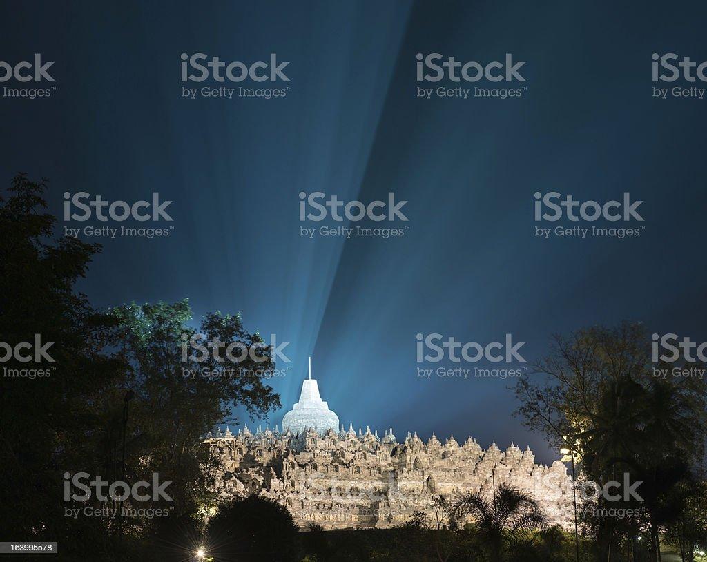 Borobudur temple at night stock photo
