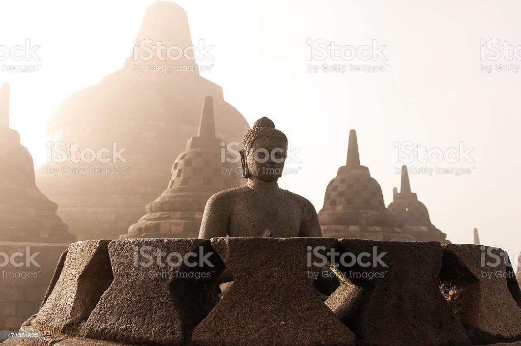 Borobudur Temple at sunrise, Indonesia. stock photo