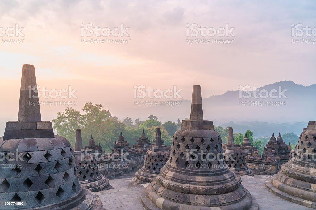 Borobudur Temple at sunrise. Yogyakarta stock photo