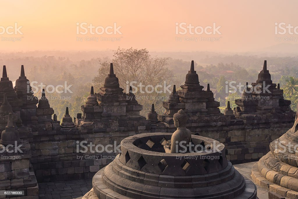 Borobudur Temple at sunrise. Yogyakarta stock photo