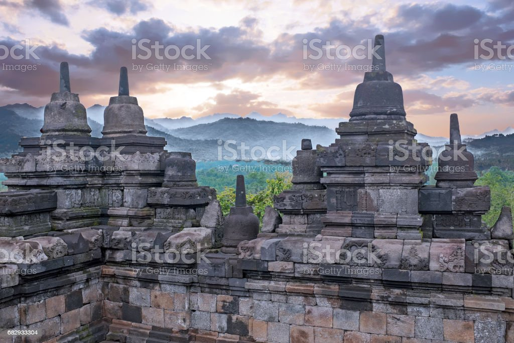 Borobudur Temple in central Java in Indonesia. This famous Buddhist temple is dating from the 8th and 9th centuries royalty-free stock photo