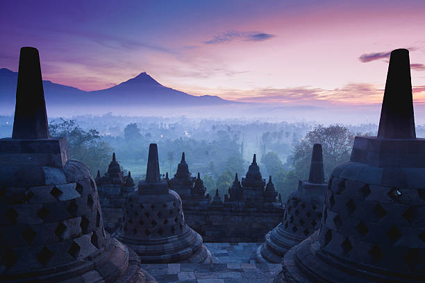 Borobudur Temple is sunrise, Yogyakarta, Java, Borobudur Temple is sunrise, Yogyakarta, Java, Indonesia. indonesia stock pictures, royalty-free photos & images