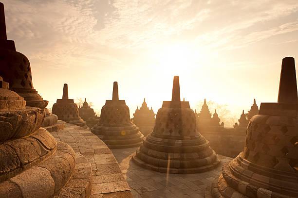 Borobudur Temple Sunrise in Java Indonesia stock photo