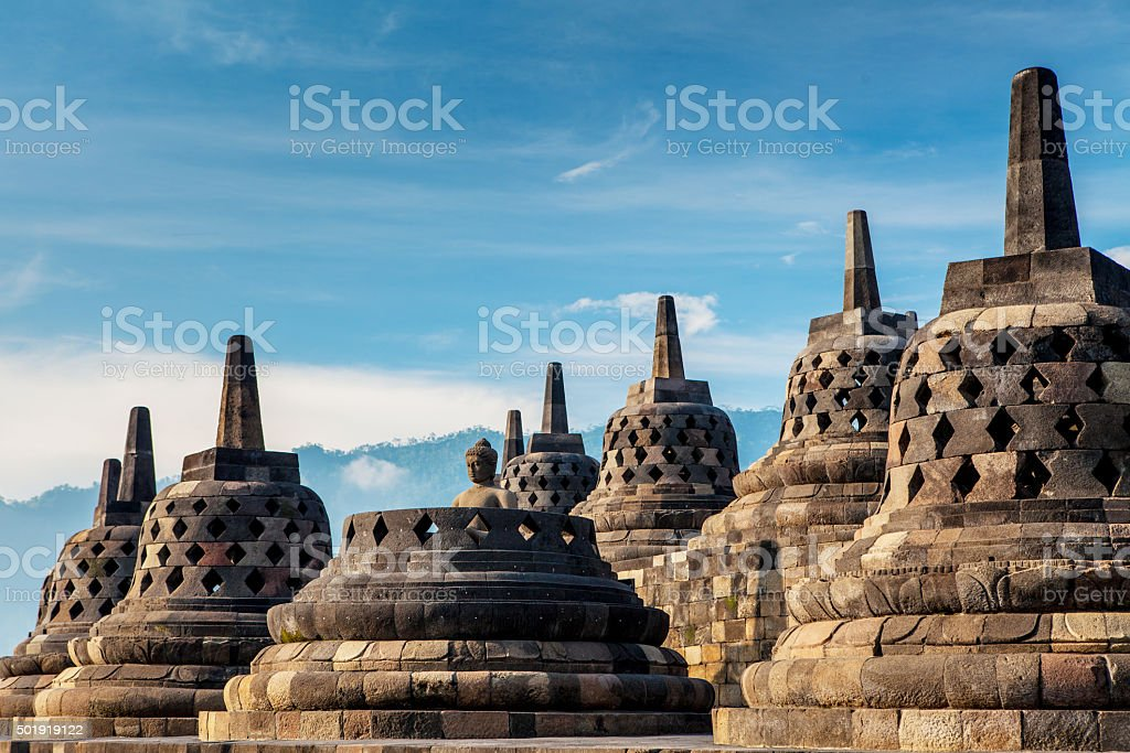 Borobudur Temple.Blue sky Yogyakarta, Java, stock photo