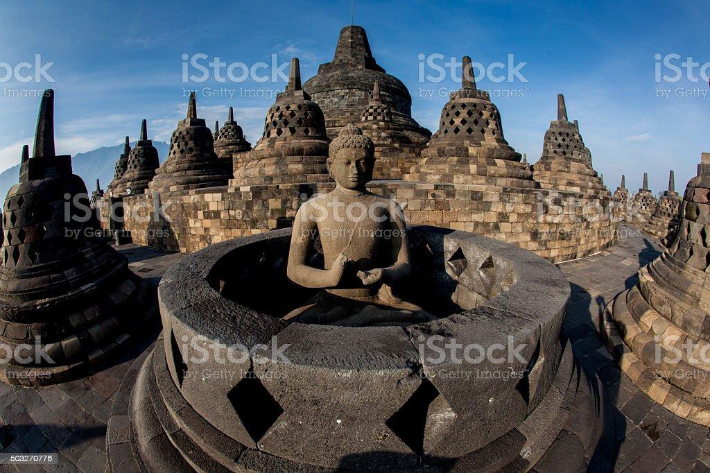 Borobudur Temple.Blue sky Yogyakarta, Java stock photo
