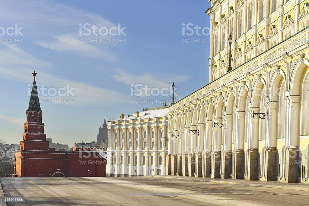 Borovitskaya Tower and  Grand Kremlin Palace stock photo