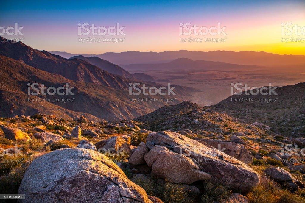 Borrego Valley At Sunrise from Mountain Ridgeline Above Hellhole Canyon stock photo