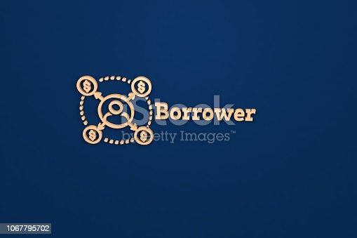 3D render of Borrower, beige color and beige text with blue background.